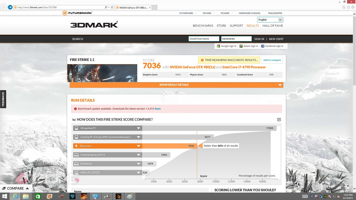 ASUS ROG G20 3DMARK 2013 Failed 1200