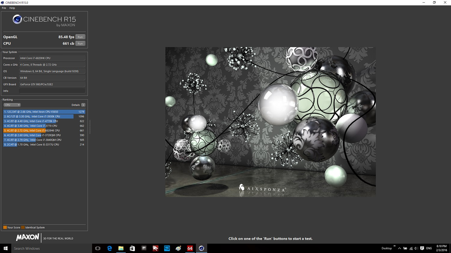 Zoomg MSI GT72S  Cinebench 15