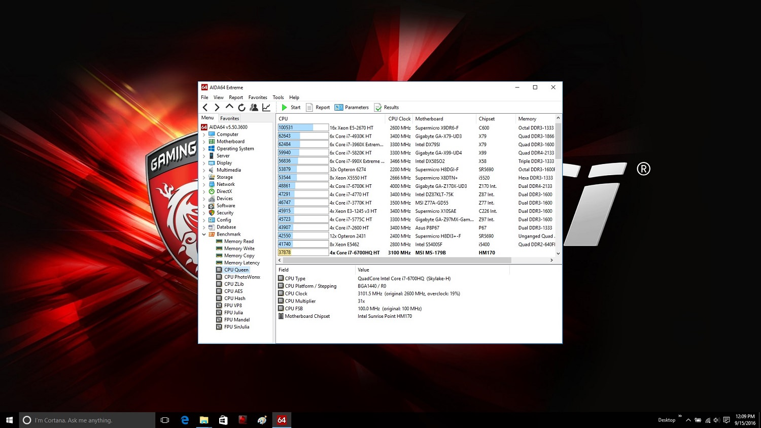 MSI GE72VR 6RF AIDA 64 CPU Queen