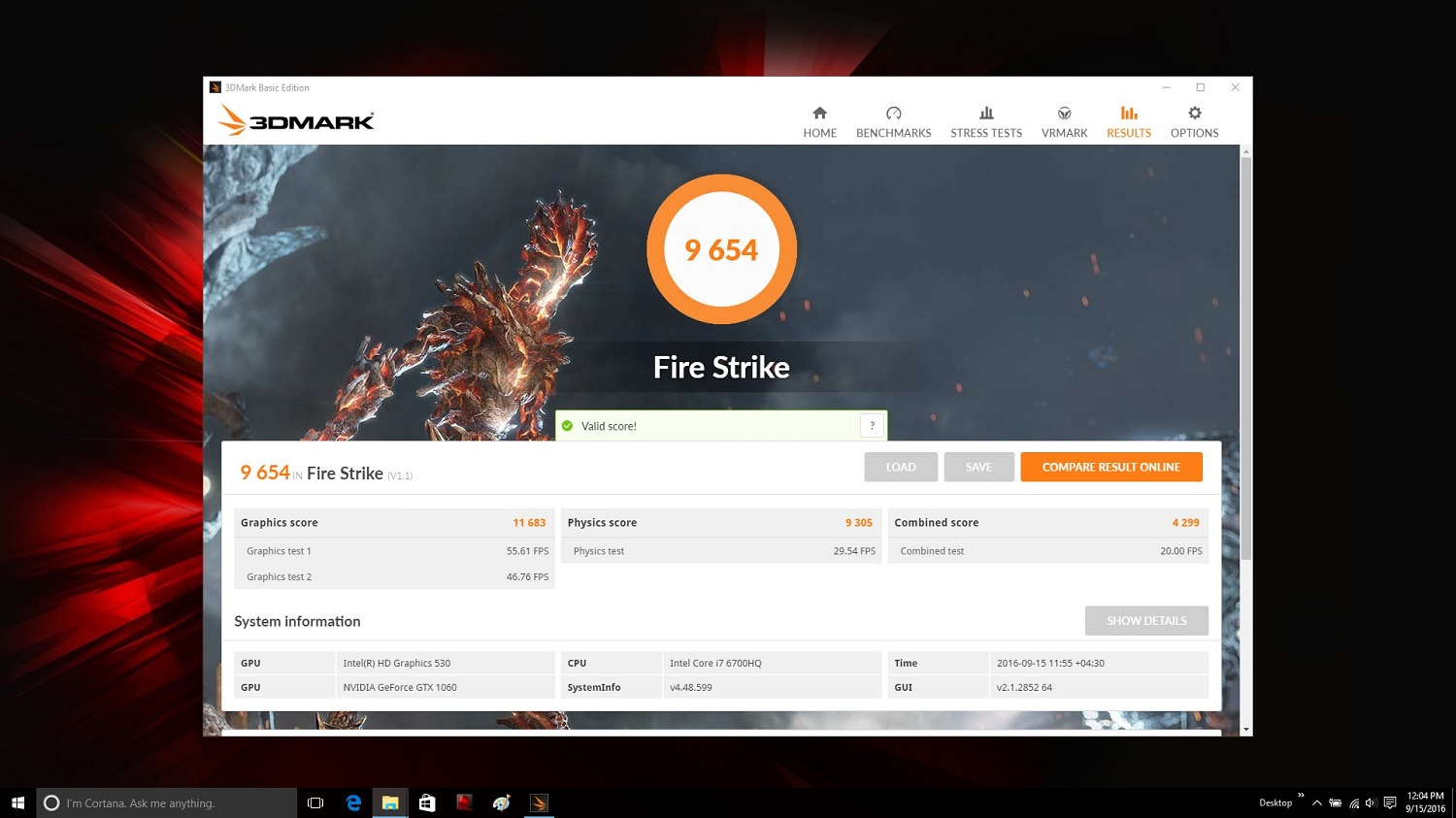 MSI GE72VR 3DMARK 2013 Fire Strike