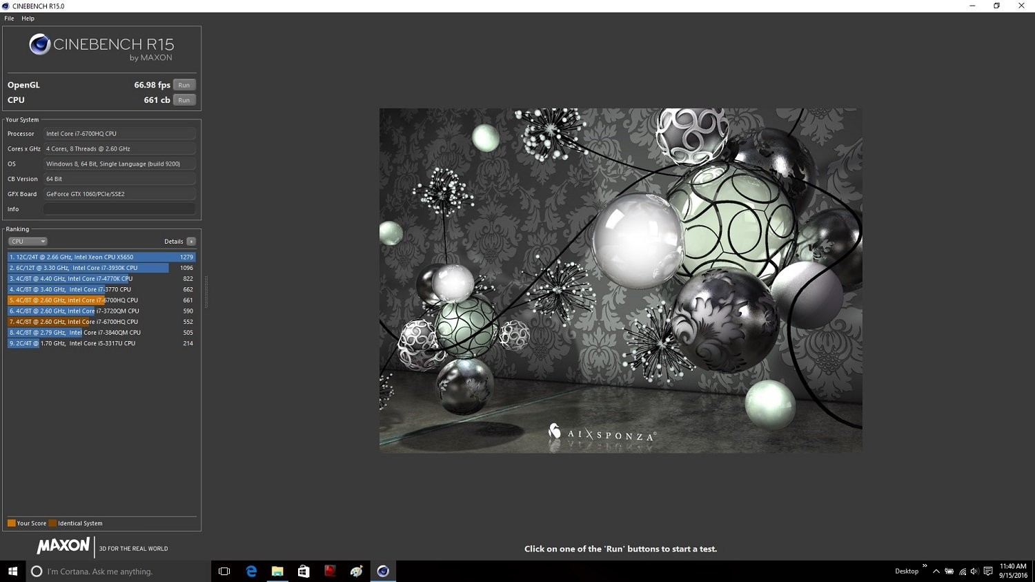MSI GE72VR 6RF CineBench R 15