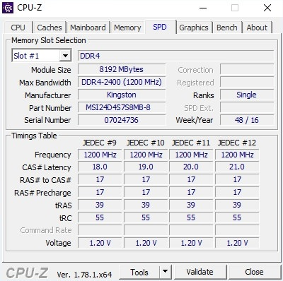 MSI GE62 7RE CPU-Z 2