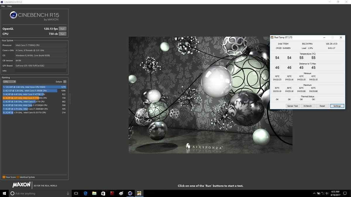 MSI GE62 7RE Cinebench Temp ZoomG