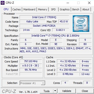 MSI GE62 7RE CPU-Z 1