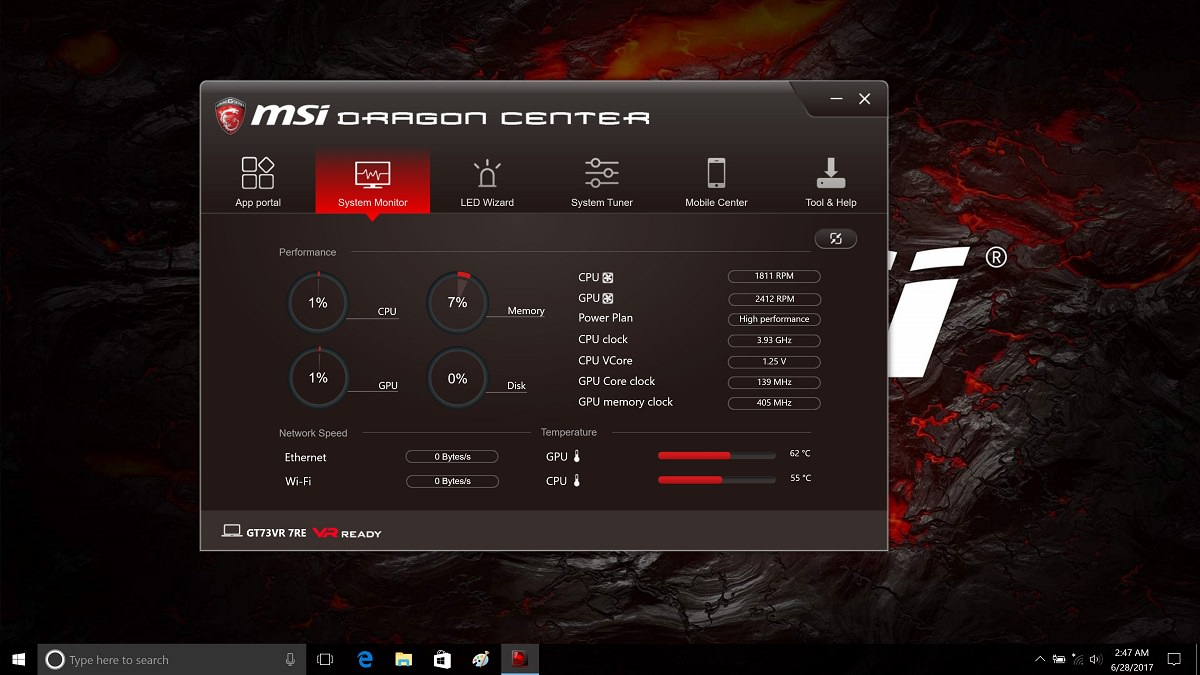 MSI GT73VR 7RE Dragon Center