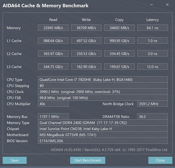 MSI GT73VR 7RE AIDA64 Cache and Memory
