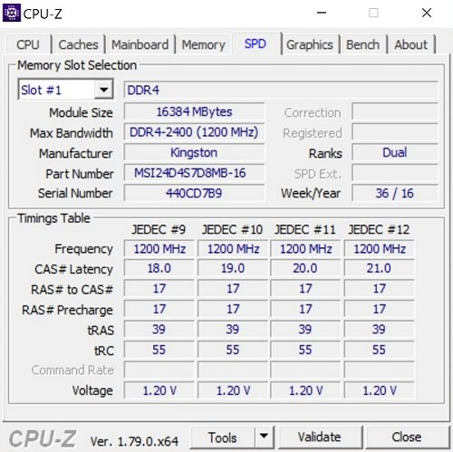 CPU Z 2 MSI GT73VR 7RE