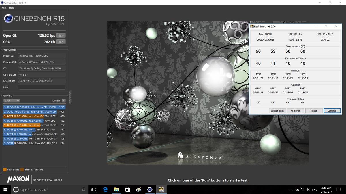MSI GT73VR 7RE Cinebench Temp ZoomG