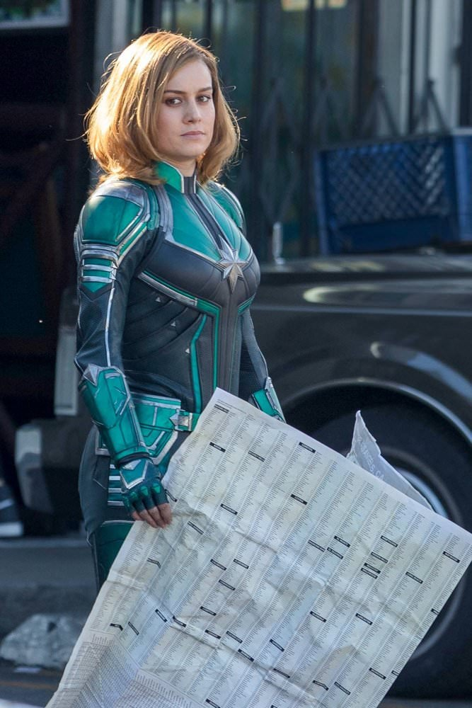 First Look Brie Larson Captain Marvel Green Costume