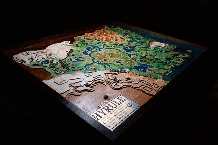 Wooden Topographical Map from Breath of the Wild