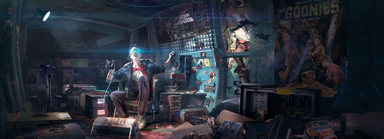 نوجوان بازیکن بازی ویدئویی با سربند واقعیت مجازی و پوستر فیلم هایی نظیر جنگ ستارگان در اتاق