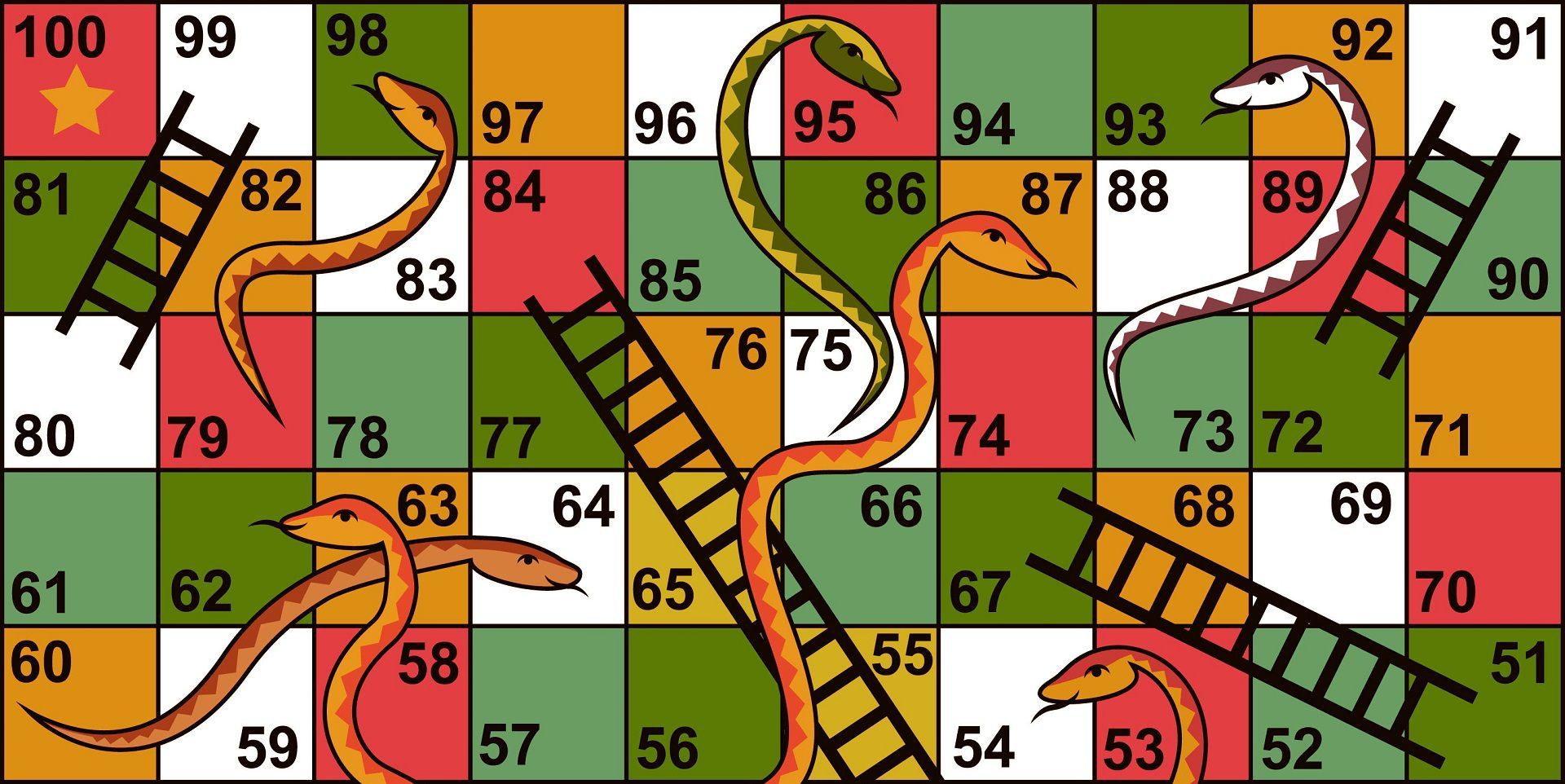 بازی مار و پله با نمایش خانه های رنگی شماره گذاری شده و نردبان و مارها