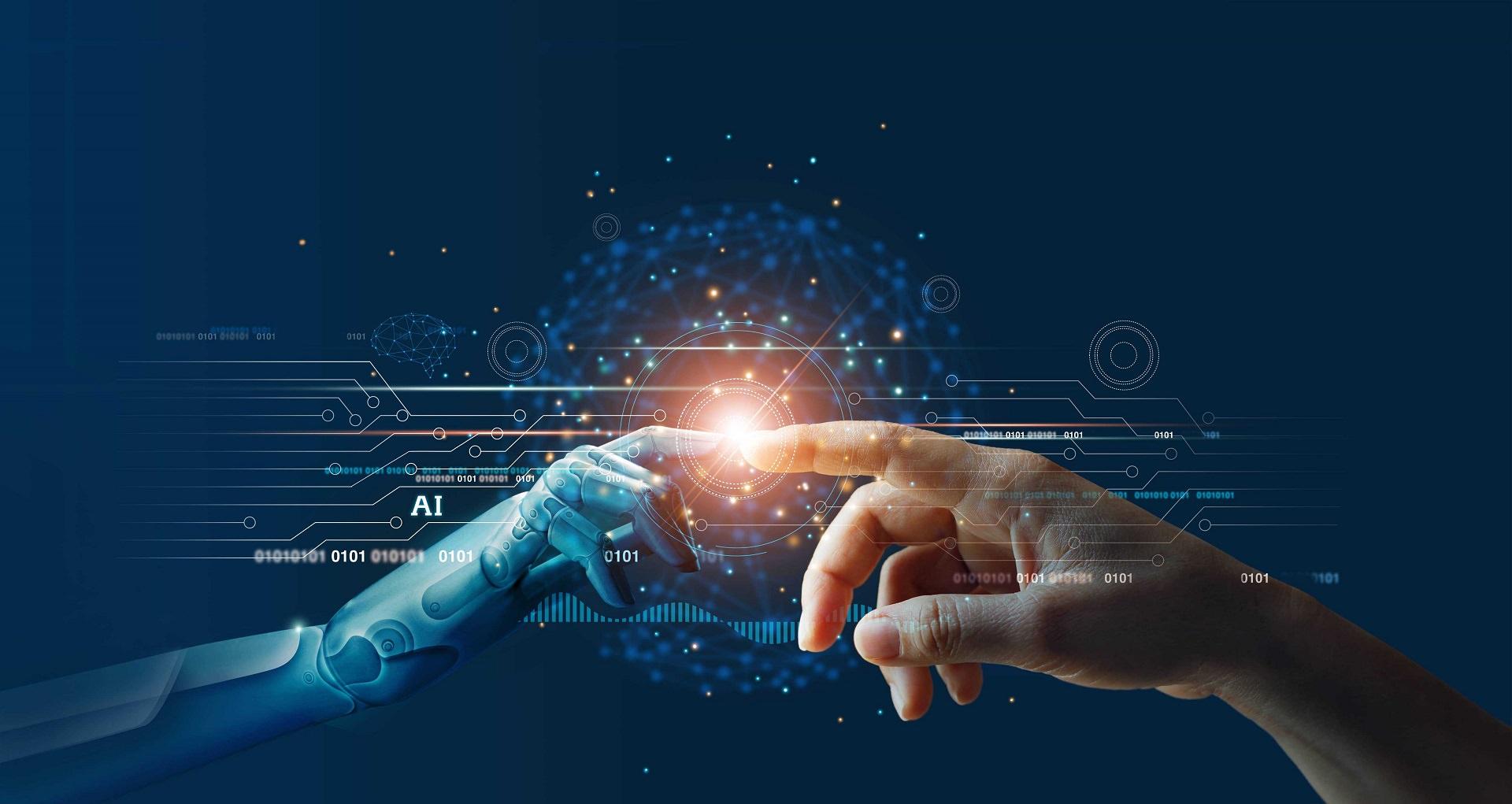 نماد هوش مصنوعی با نمایش تقابل دستان انسان و ربات