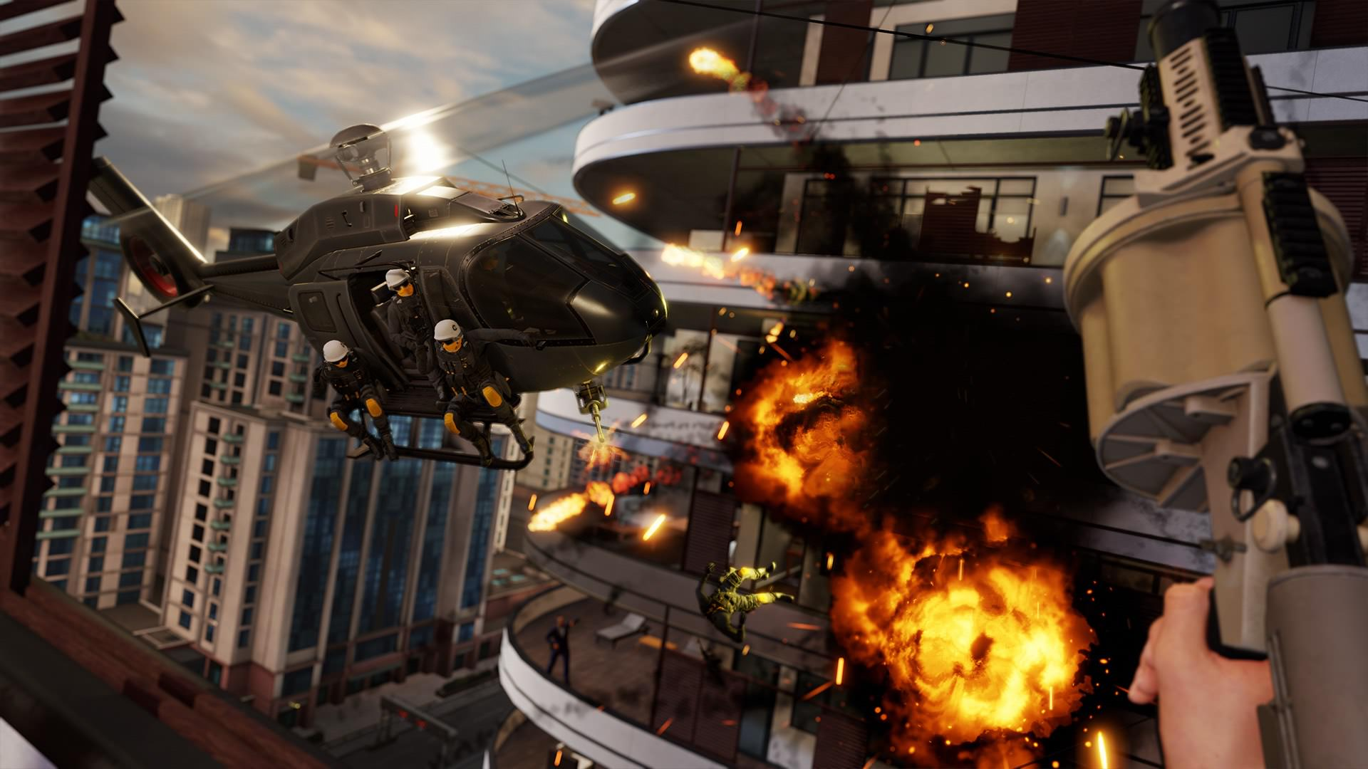 Shoot a helicopter with a grenade launcher in the bloody game Blood & Truth