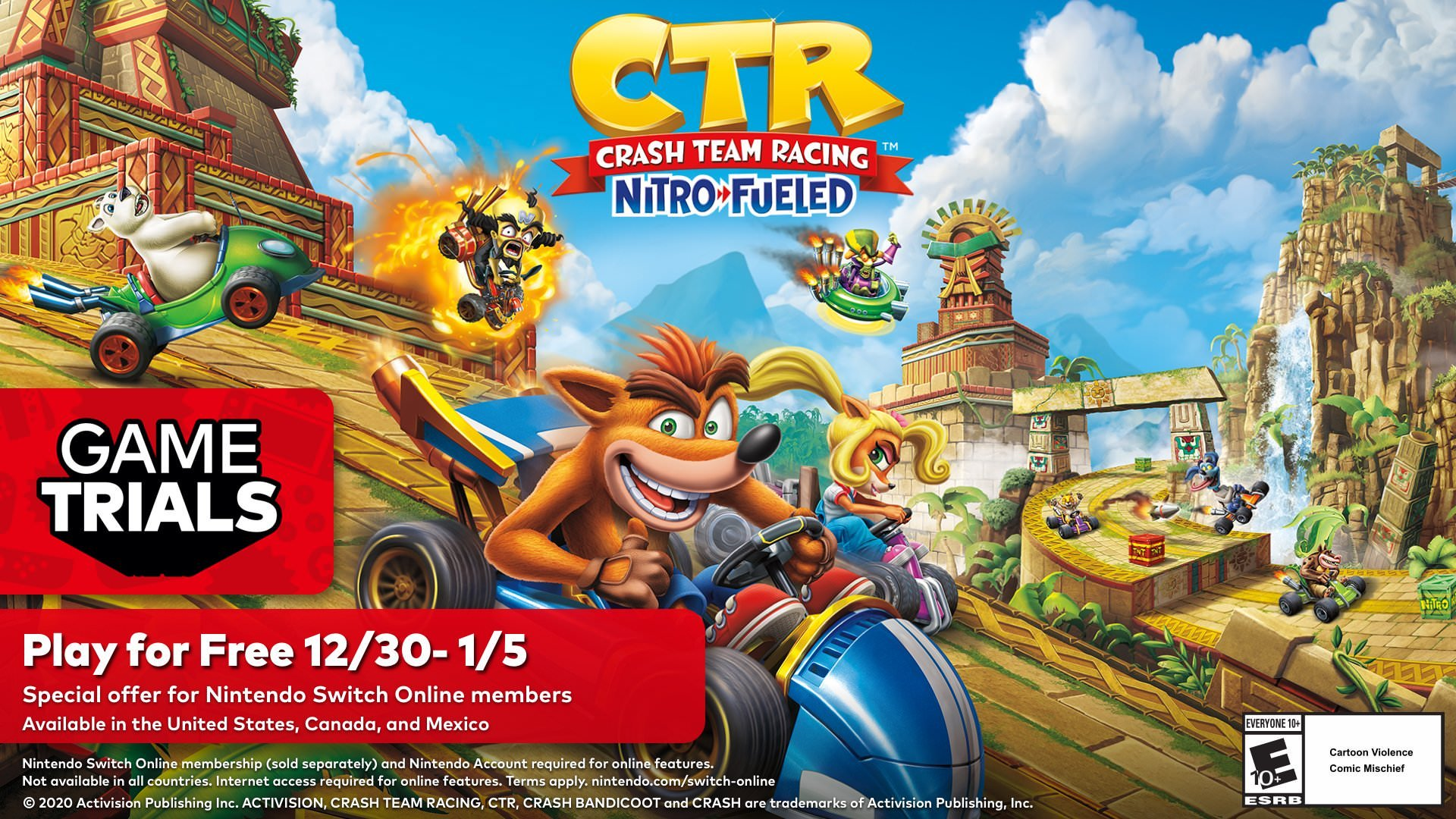 Free version of Crash Team Racing game for Nintendo Switch online service subscribers