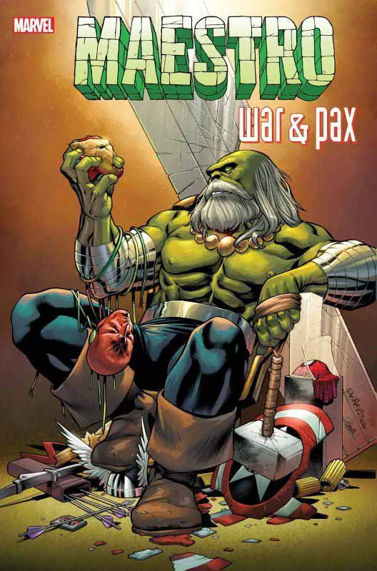 Maestro character on the throne with the tools of the heroes in the Maestro: War and Pax comic book series