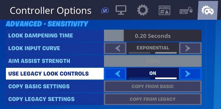 Fortnite legacy controls