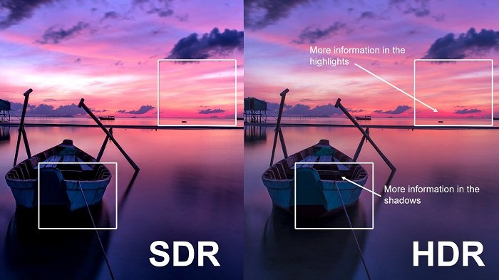تصویری از قایق در رودخانه در حالت SDR و HDR