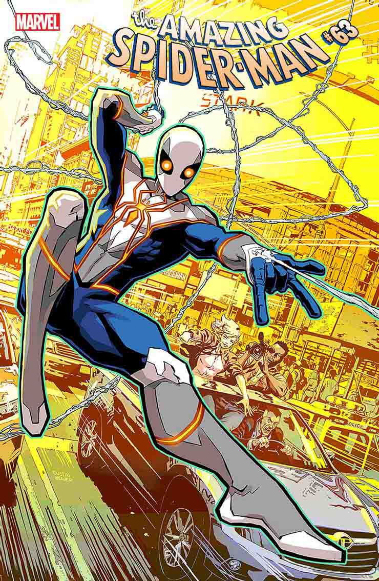 Spider-Man swings in the city in the Amazing Spider-Man comic book series