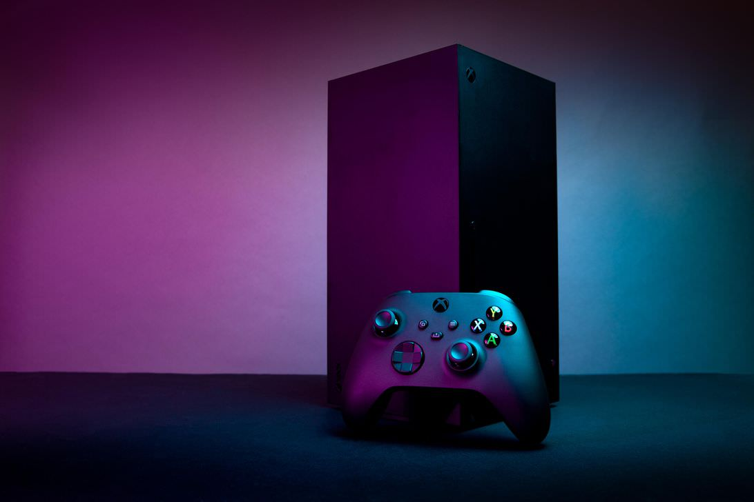 Xbox Series X console in standing position