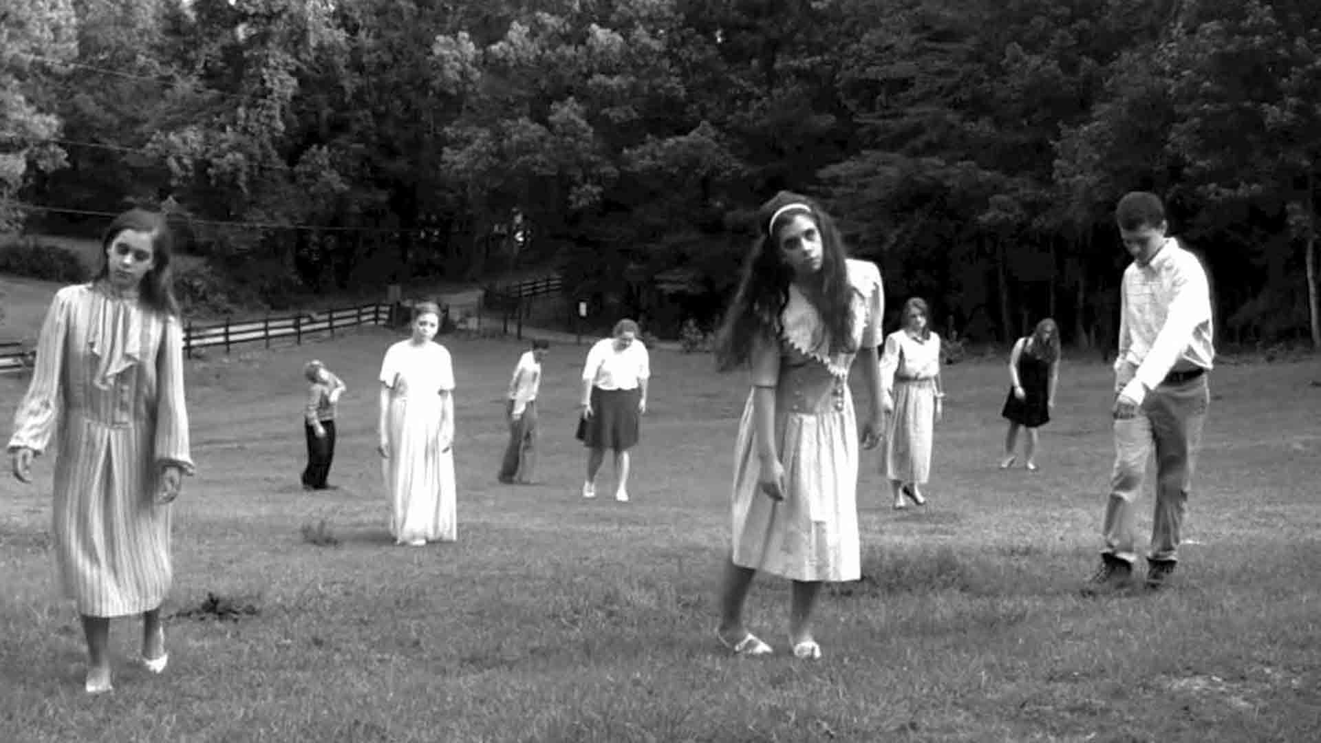 The living dead walking in the movie Night of the Living Dead