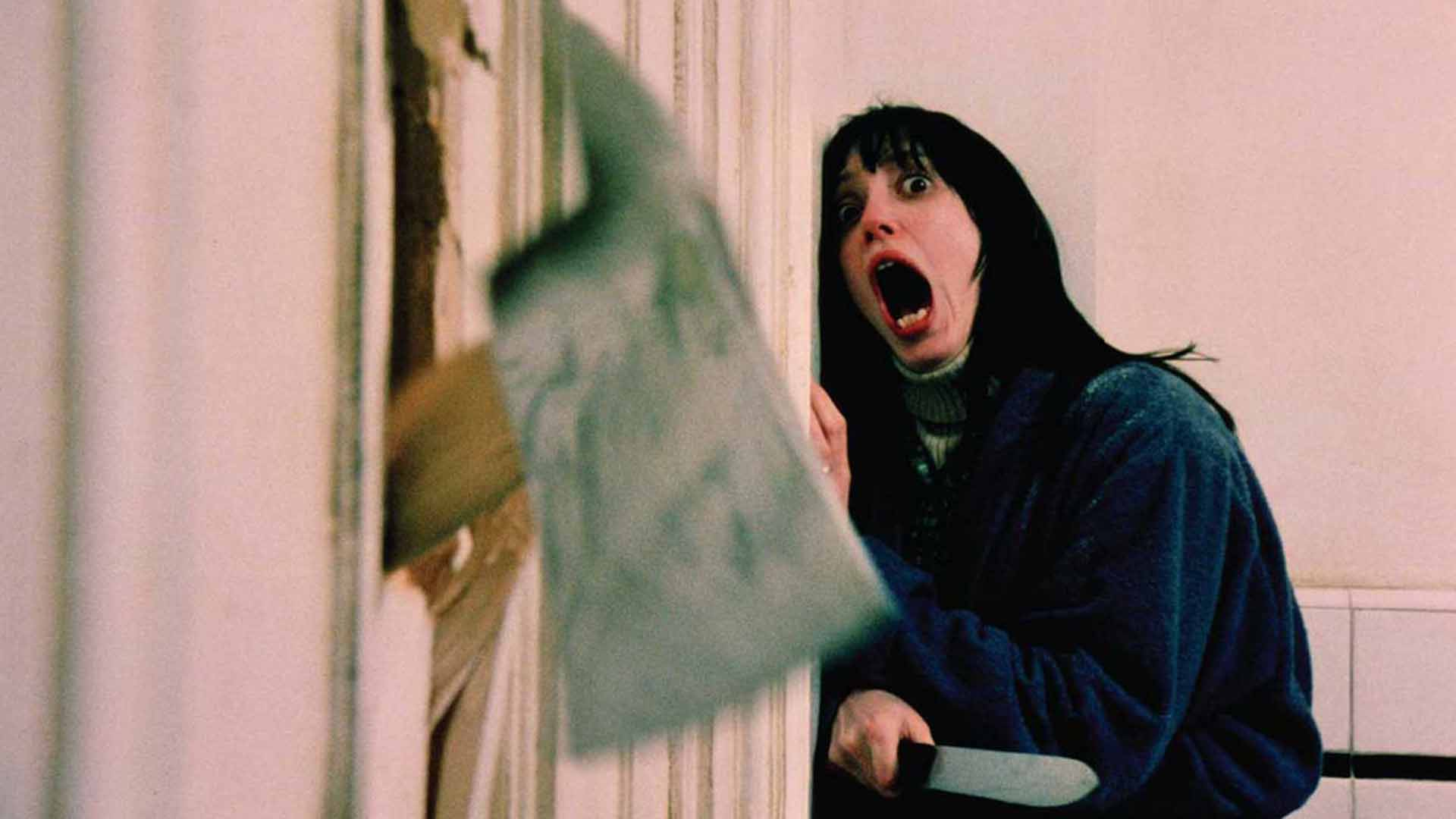 Jack Nicholson with an ax with Shelley Duvall in The Shining