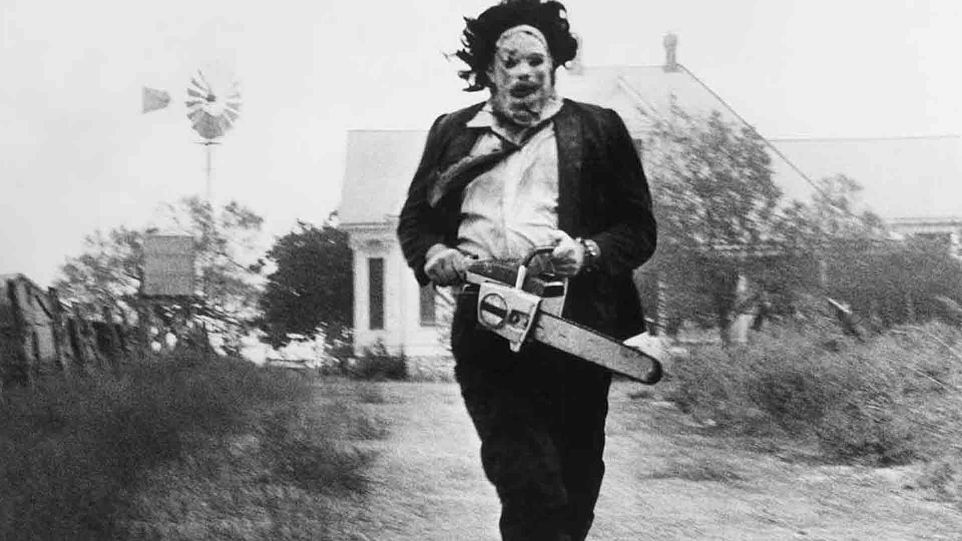 The main character of The Texas Chainsaw Massacre is running with a chainsaw