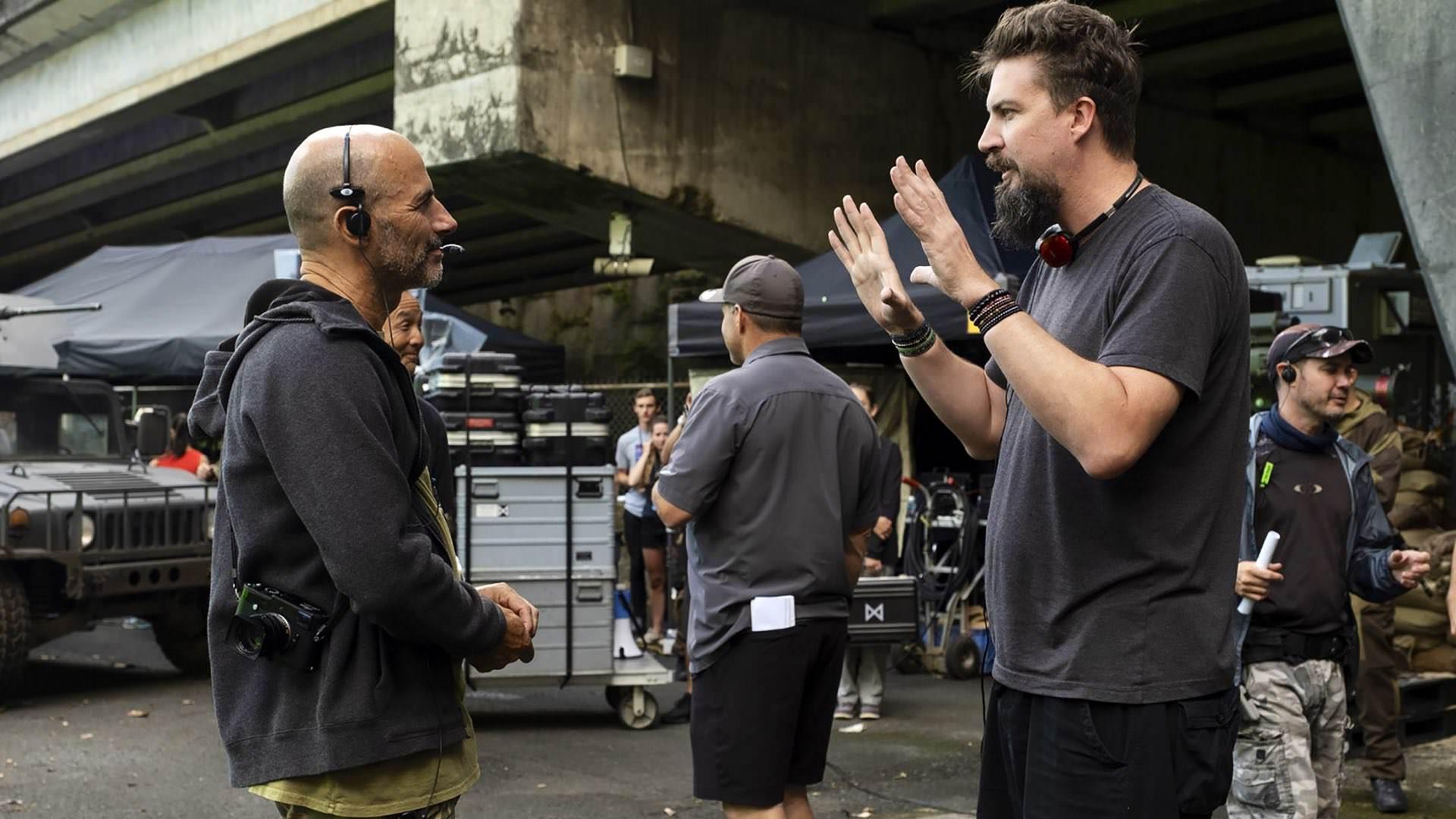 آدام وینگارد در پشت صحنه فیلمبرداری فیلمGodzilla vs. Kong