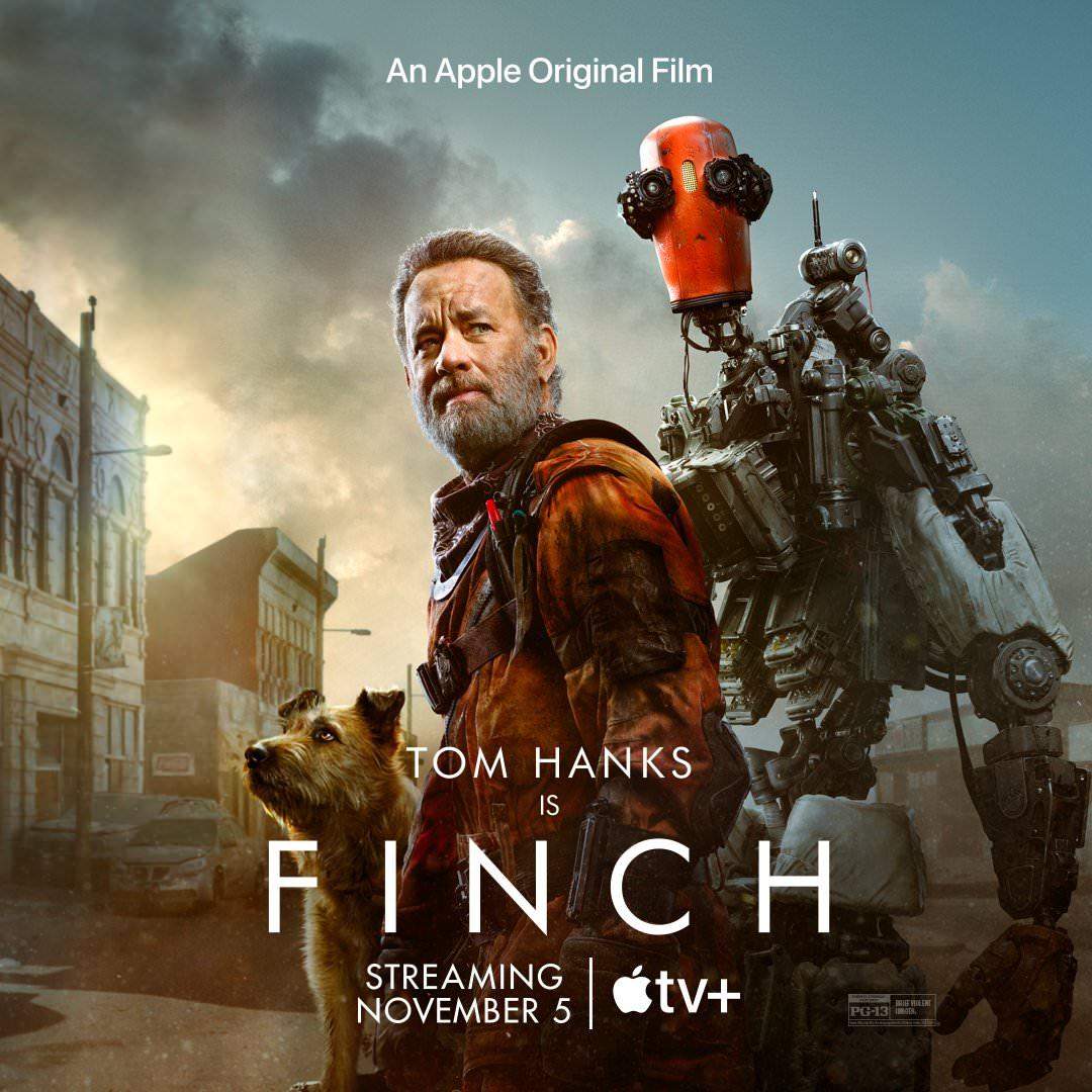 تام هنکس به همراه ربات و سگ در پوستر فیلمFinch